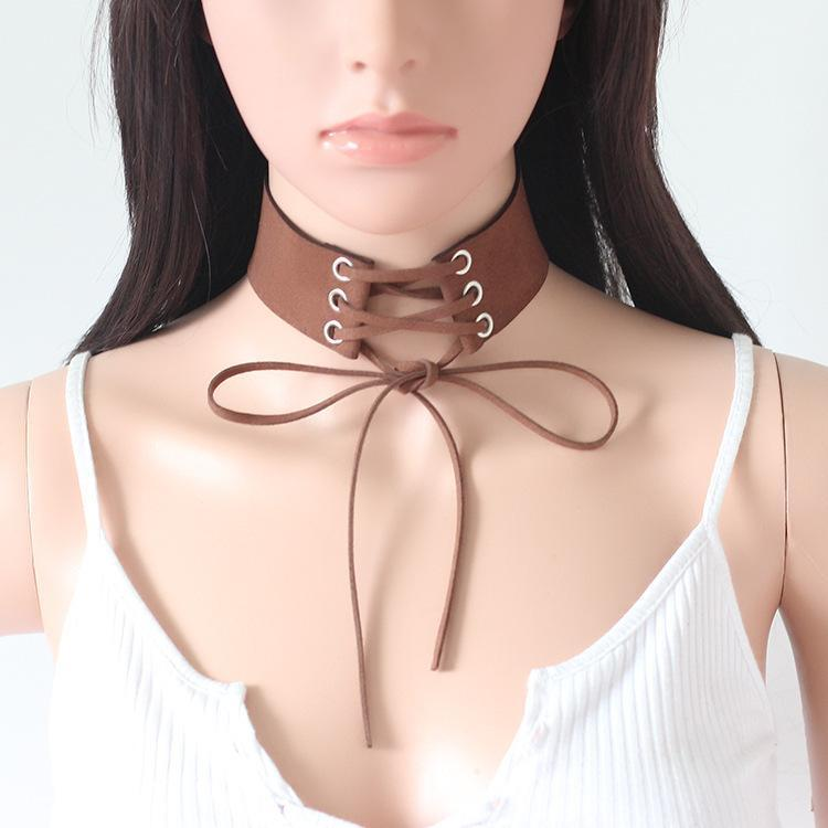 Velvet necklace collar Suede ribbon necklace - bohosecret