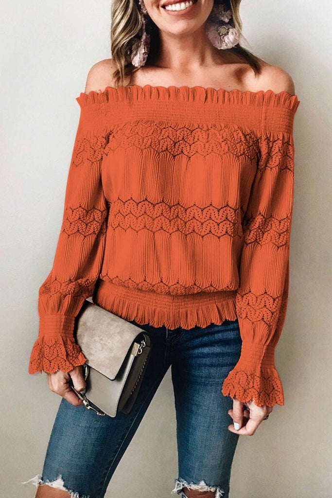 Knitted one-shoulder lace top-7color - bohosecret