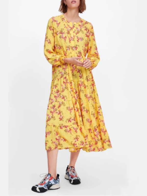 Garden Yellow Flower Long-sleeve Midi Dress - bohosecret
