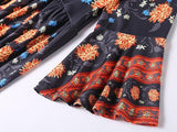 Women Print Floral long sleeve vintage bohemian bodycon Dress - bohosecret
