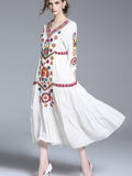 Summer Women Long Embroidery Cotton White Casual Dress - bohosecret