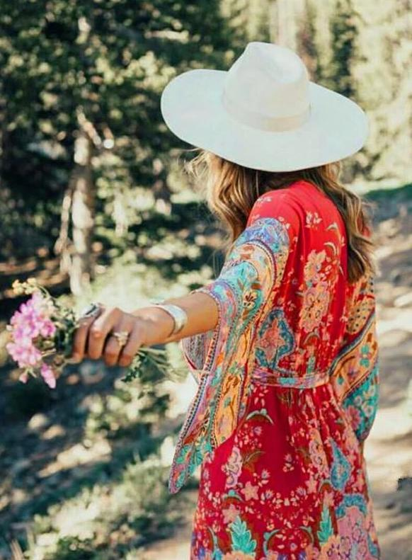 Red Flame Flower Bohemian Midi Dress - bohosecret