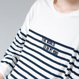 Women Stripe Embroidery T-Shirt Casual Batwing Sleeve O-Neck Top - bohosecret