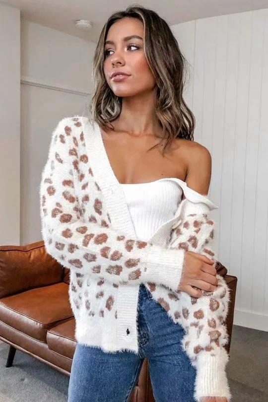 V-neck Single-breasted Leopard Knit Cardigan - bohosecret