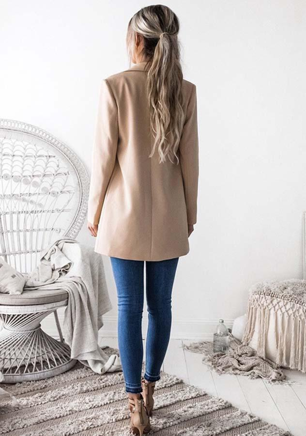 Solid Color Casual Long Sleeve Outwear Coat - bohosecret