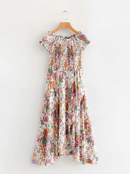 Off Shoulder Floral Print Frill Trim Maxi Dress - bohosecret