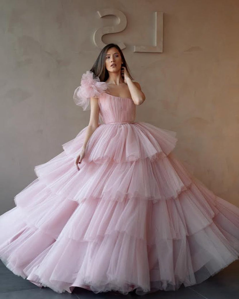 Pink One Shoulder Ball Gown Prom Dress Tiered Tulle Evening Gown - bohosecret