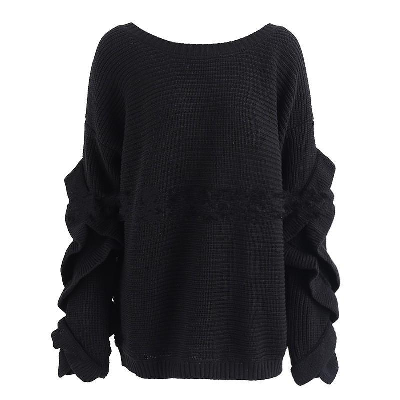 Round Neck Pullover Ruffled Sleeves Sweater - bohosecret