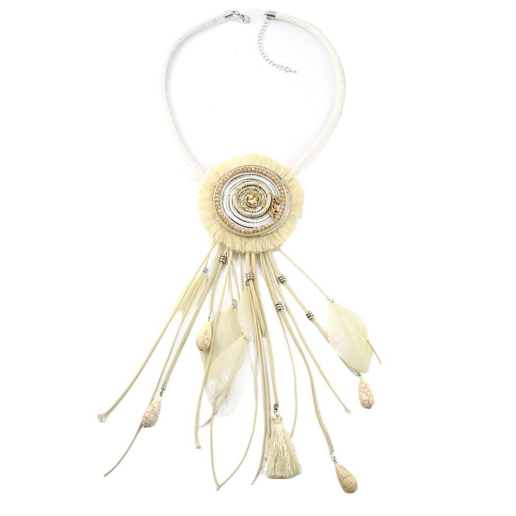 Bohemian Style DreamCatcher Feather Stone Thread Tassel Statement Necklace - bohosecret