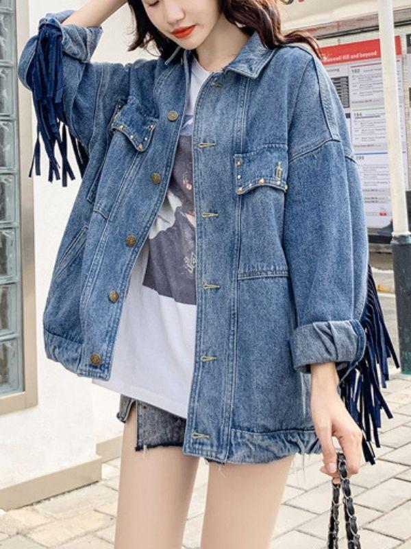 Sequin Floral Tassel Embroidery Denim Jacket - bohosecret