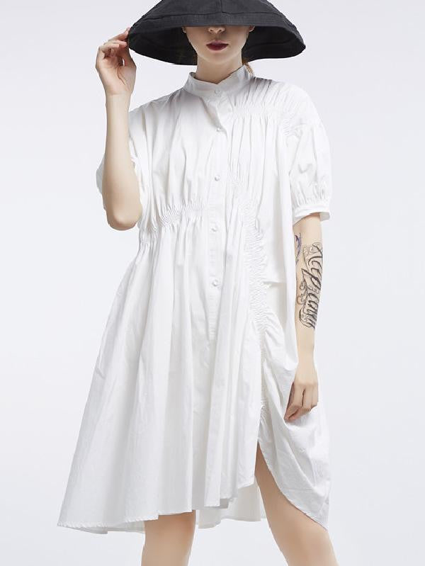 Asymmetric Lantern Short Sleeves Dress - bohosecret