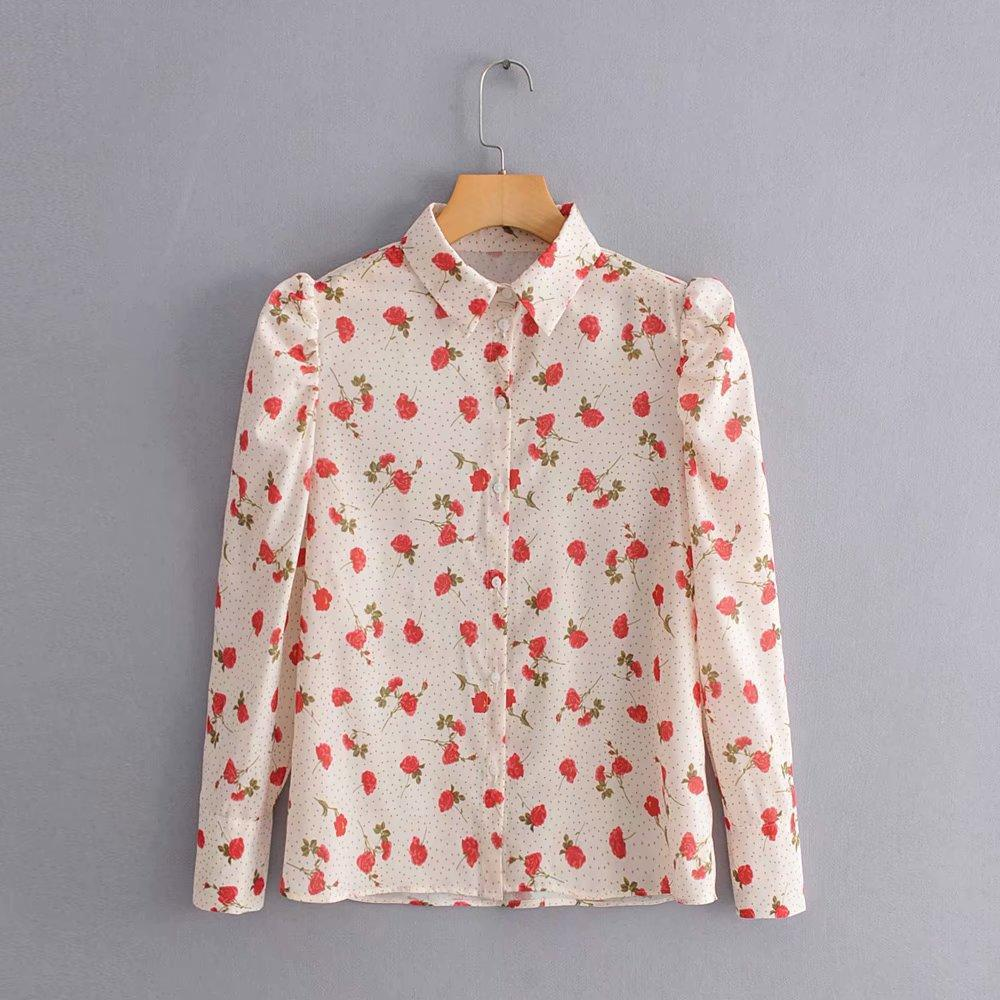 Rose Polka Dot Single-breasted Shirt - bohosecret