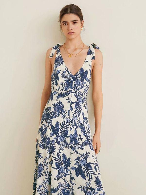 Summer Women's Floral Printed V-Collar Sleeveless Backless Holiday Casual Midi Dress - bohosecret