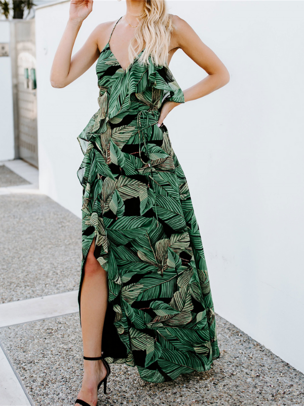 Boho Sling Leaves Printed Flouncing Beach Maxi Dress - bohosecret