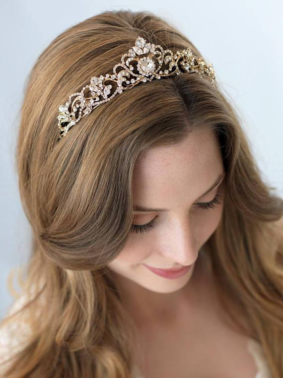 Rhinestone Crown Bridal Headdress Rose Gold Crown Headband Bridal Jewelry - bohosecret