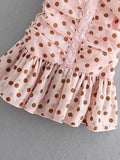 Pink  Polka Dot Print Button Mini Dress - bohosecret