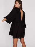Ruffled Long Sleeve Deep V Neck Sexy Boho Mini Dress - bohosecret
