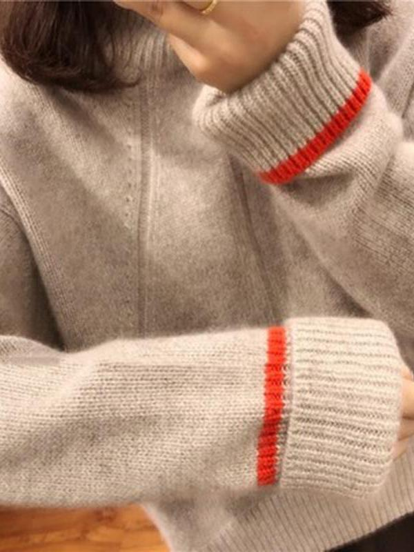 High-necked Loose Cashmere Knitted Sweater - bohosecret