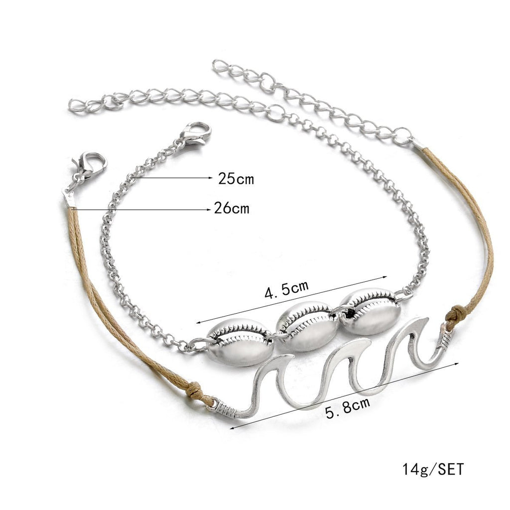 Beach Wave Shell Anklet Simple Wave Footchain - bohosecret