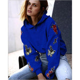 Printed  Long Sleeve Hooded Tops - bohosecret
