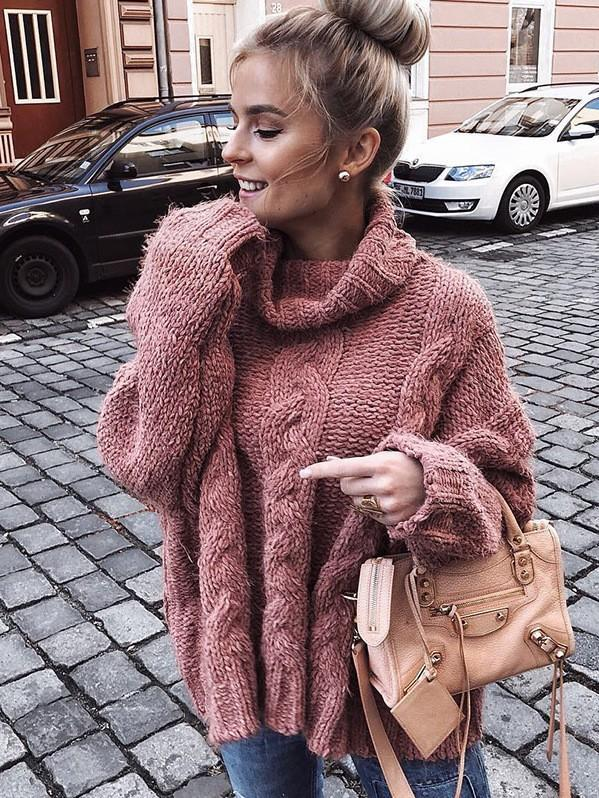 Pink Long Sleeves High-neck Sweater Tops - bohosecret