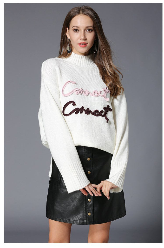 Letter Knit New Ladies Turtleneck Sweater - bohosecret