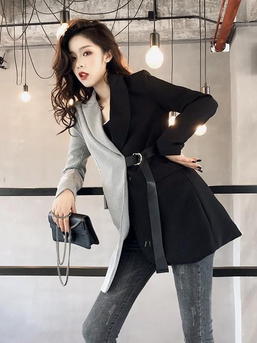 Fashion Slim Color Matching Suit  Coats - bohosecret
