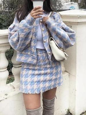 Autumn Winter Houndstooth Checker Pattern Skirt Suit - bohosecret