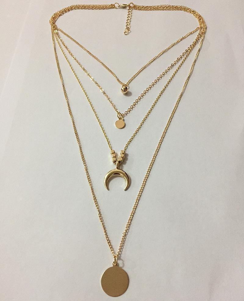 Fashion Personality New Multi-Layer Moon Disc Necklace - bohosecret