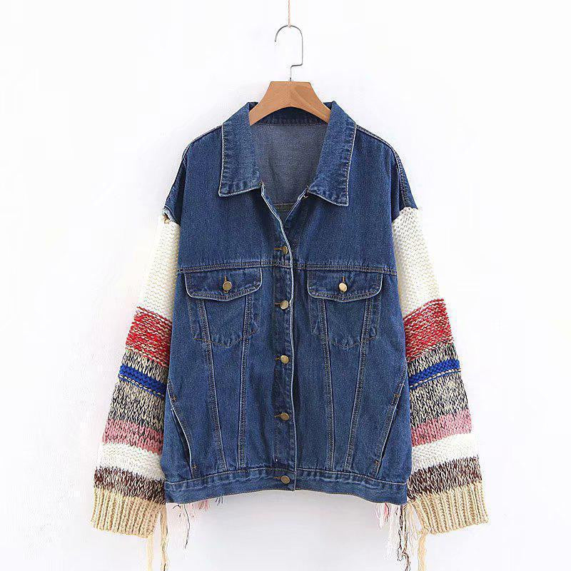 Casual Wool Stitching Sleeve Denim Jacket - bohosecret