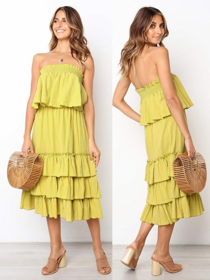 3 Colors Tube Top Loose Cake Skirt Two-Piece Midi Dress - bohosecret