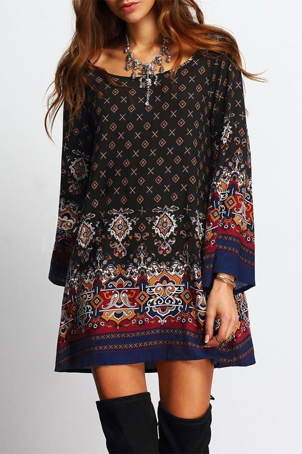 Women Vintage Sexy Boho Floral Printed Beach Dress - bohosecret