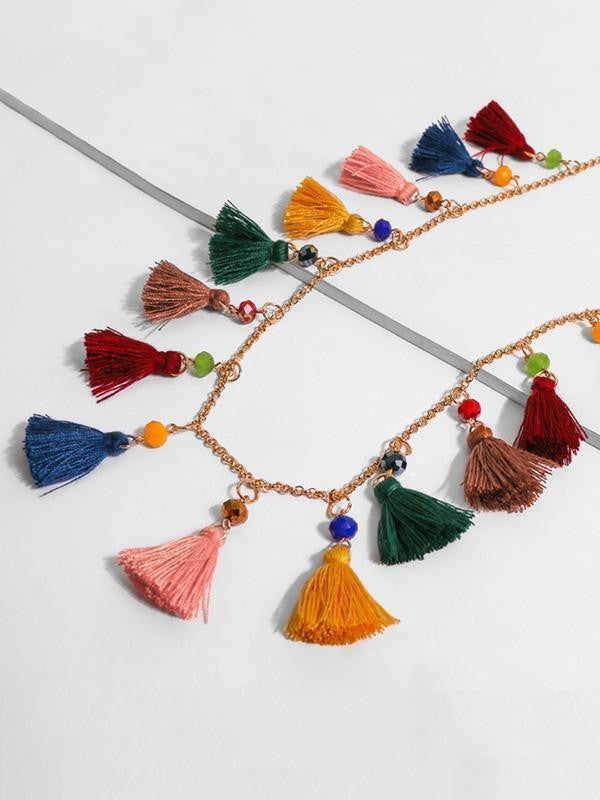 Cotton Alloy Tassel Necklaces Accessories - bohosecret