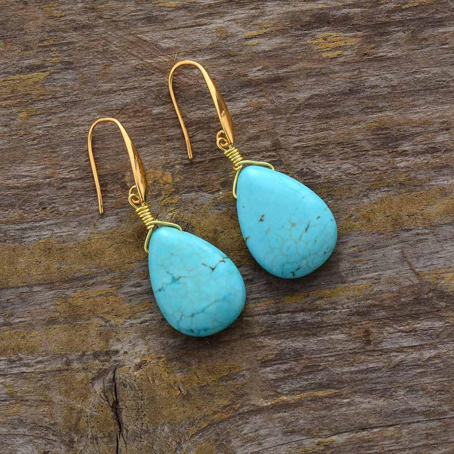 Exquisite Teardrop Turquoise Earrings - bohosecret