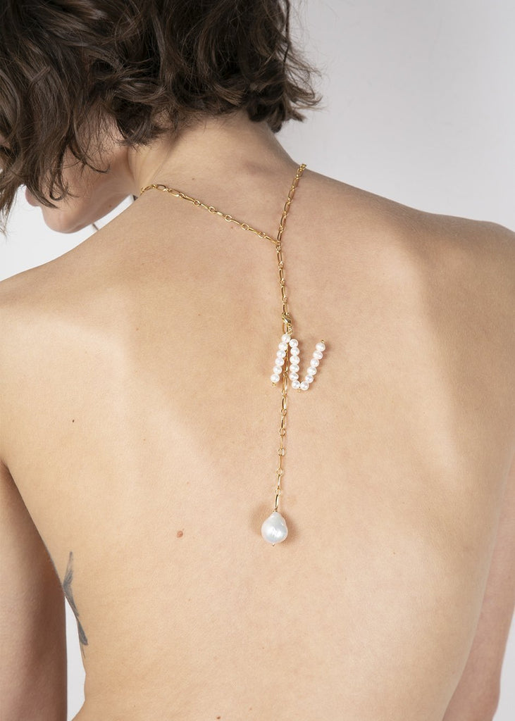 Pearl Letter Necklace - bohosecret
