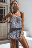 Women Off shoulder Plaid Cotton Sexy Plus size Backless Romper - bohosecret