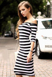 Women Sexy Off Shoulder Striped Casual Beach Bodycon Dress - bohosecret