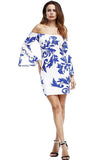 Women Sexy Sleeve Party Vintage Print Bandage Bodycon Dress