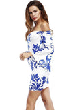 Women Sexy Sleeve Party Vintage Print Bandage Bodycon Dress - bohosecret