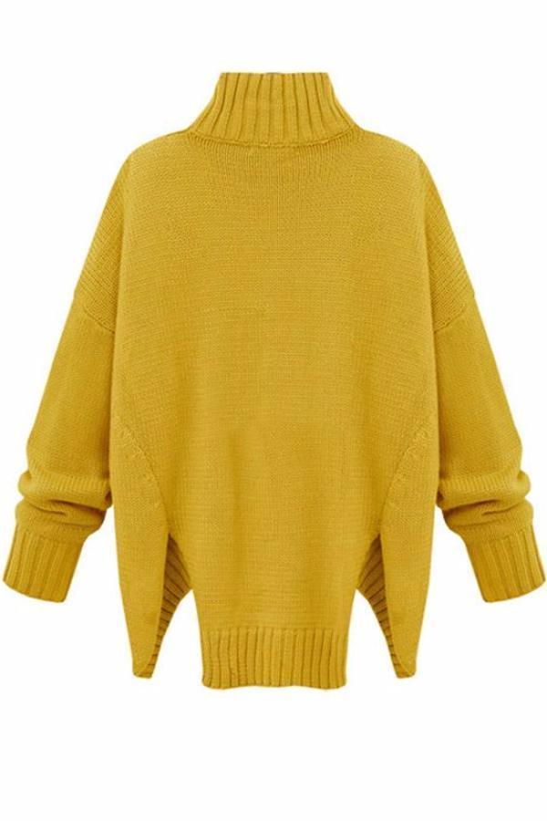 Women Turtleneck Knitted Sweater Plus Size Long Sleeve Tops - bohosecret
