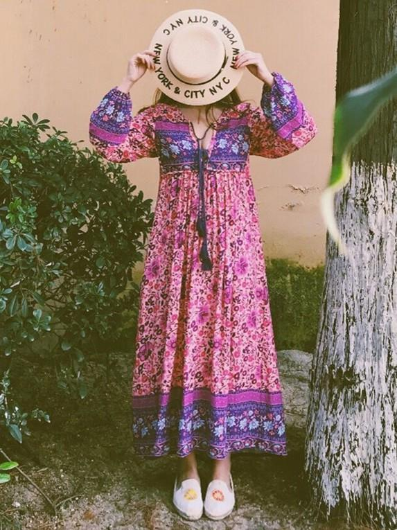 Women Gypsy Ethnic Maxi Bohemian Floral Print Long Sleeve Dress - bohosecret