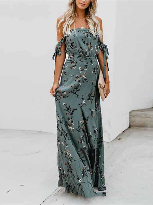 Printed Wrapped Slim Fit Super Long Swing Open Halter Dress - bohosecret