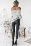 Women Sexy Knitted Long Sleeve Off Shoulder Pullover Sweater - bohosecret