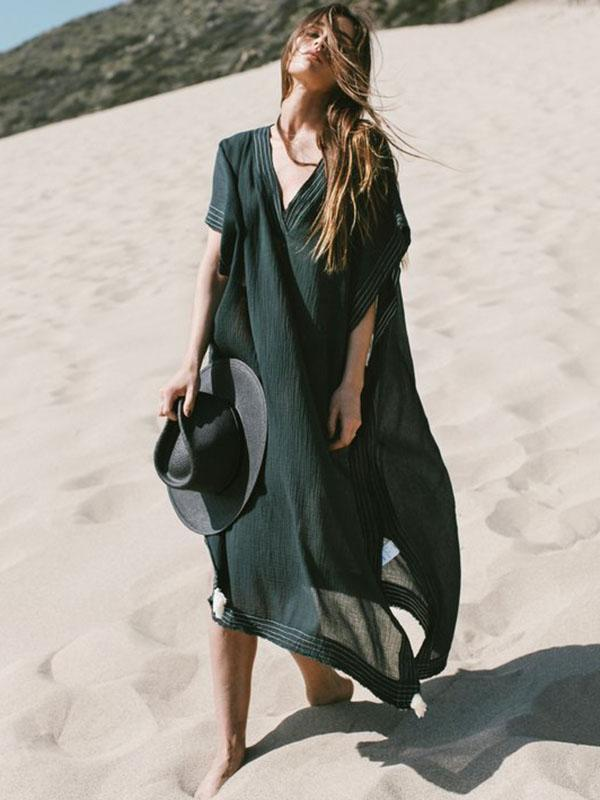 Soft Black V-neck Split-side Beach Long Dress Cover-up - bohosecret