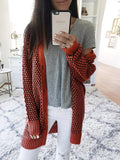 Textured Knit Open Front Long Sleeve Cardigan - bohosecret