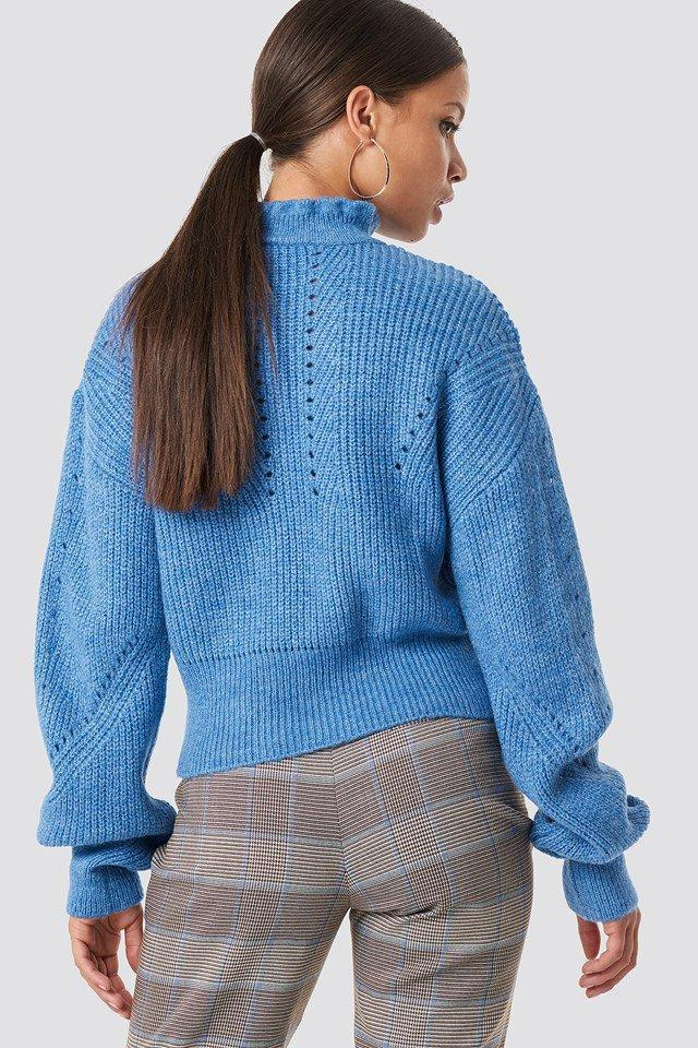 High Neck Pattern Knitted Sweater - bohosecret