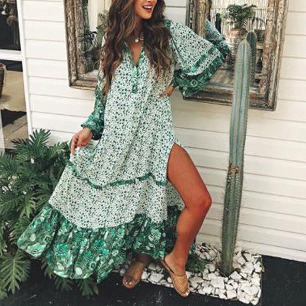 Long Flower Bohemian Dress - bohosecret