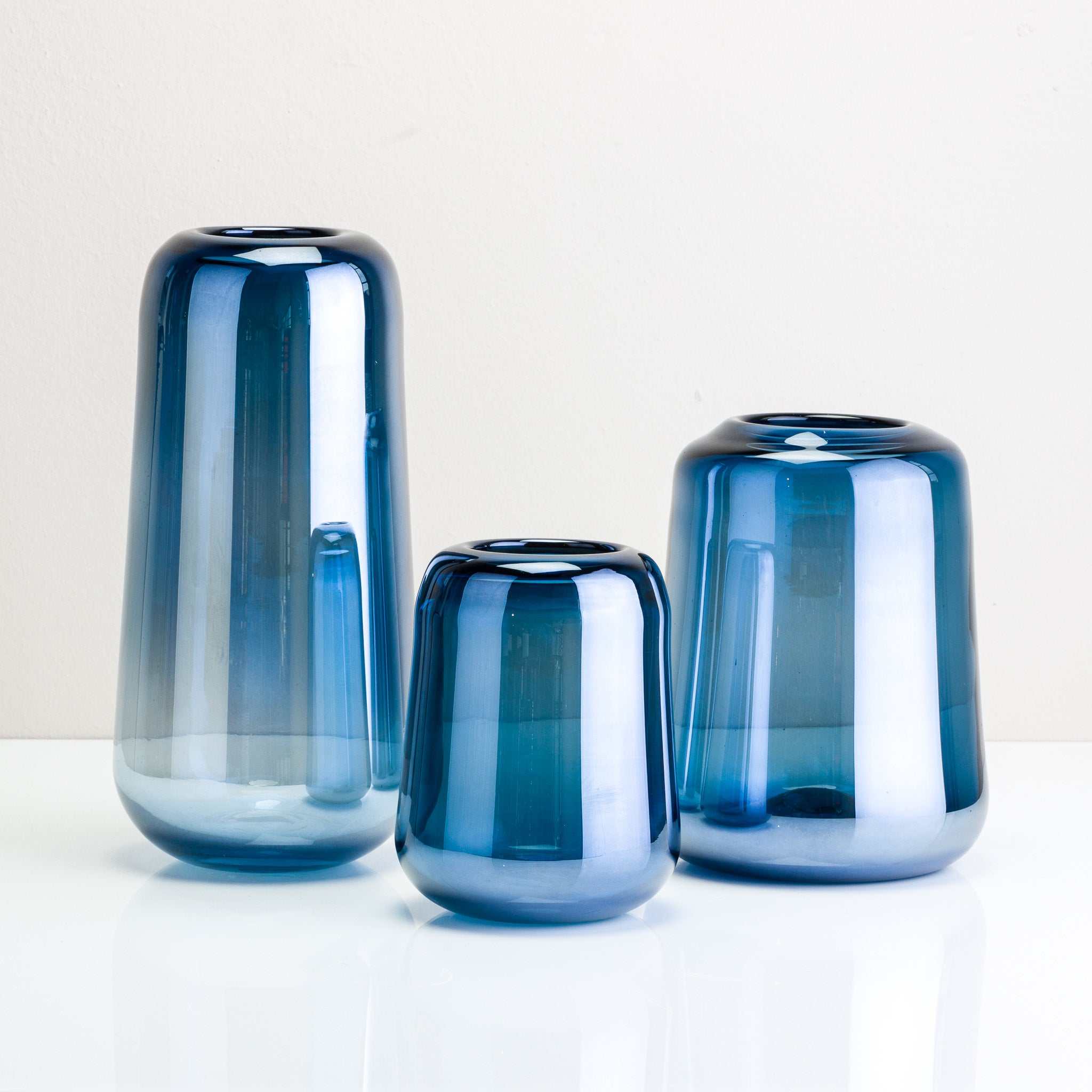 Pearly Blue Glass Vase
