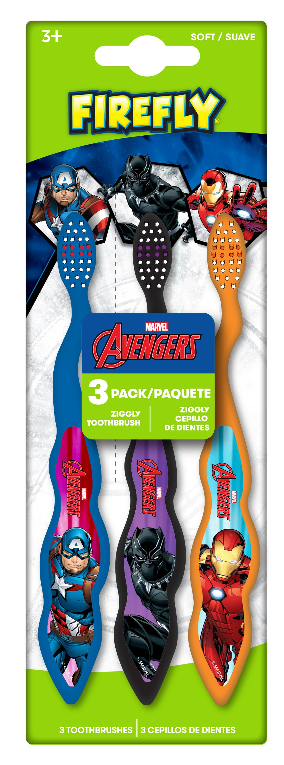 Firefly Value Pack Avengers 3 Count Toothbrushes