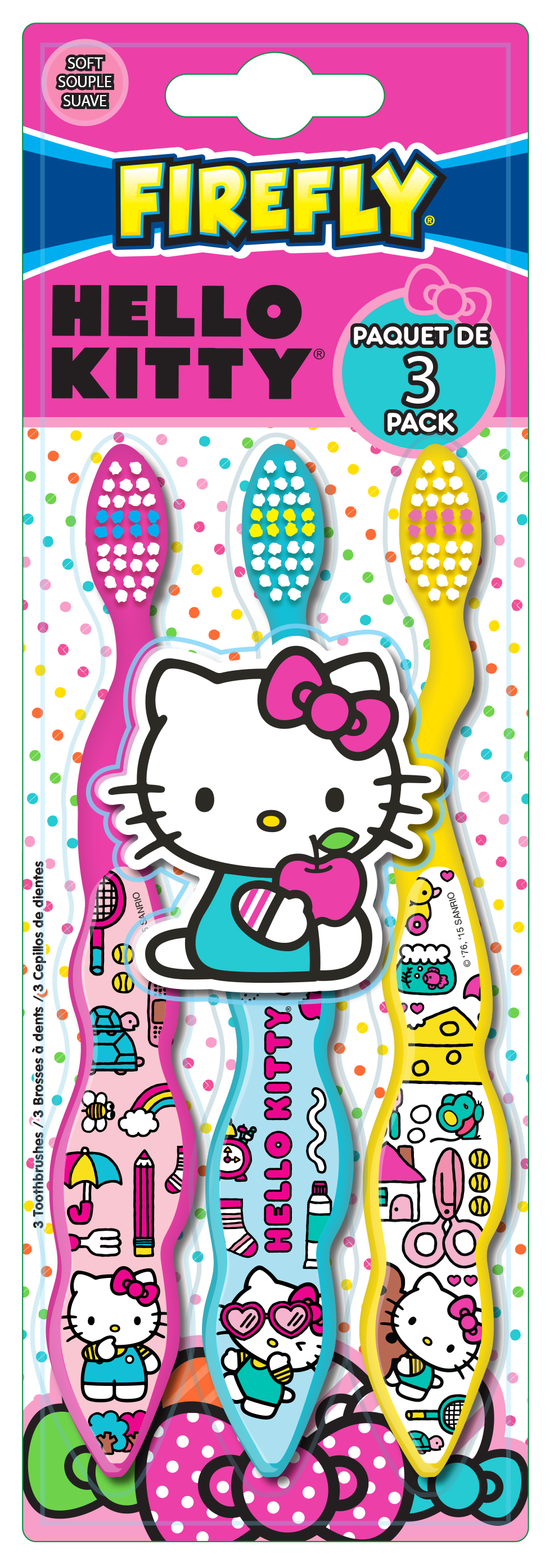Firefly Value Pack Hello Kitty 3 Count Toothbrushes